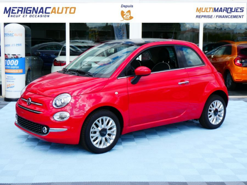 Fiat 500 1.2 69 PACK LOUNGE GPS TOIT Pano (7 Options) ESSENCE ROUGE PASSIONE Neuf à vendre