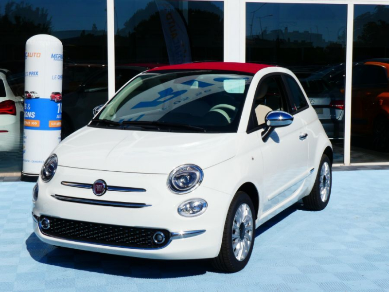 Fiat 500 C 1.0 70 BSG Hybrid BV6 LOUNGE GPS (8 Options) Capote Rouge HYBRIDE ESSENCE BLANCHE CAPOTE ROUGE Neuf à vendre